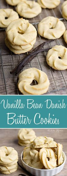 Traditional Danish Butter Cookies recipe made with vanilla beans. Crisp, buttery, melt in your mouth delicious, a recipe everyone will love Delicious Cookie Recipes, Baking Recipes, Sweet Recipes, Yummy Food, Dessert Recipes, Danish Butter Cookies, Butter Cookies Recipe, Yummy Cookies, Vanilla Cookies