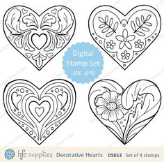 4 decorative heart digital stamp designs. Each of these designs was created from my original line drawings. hfcSupplies Etsy