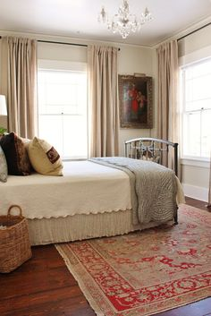 for the love of a house: the North guest bedroom: details-these are Aina unbleached linen Ikea curtains