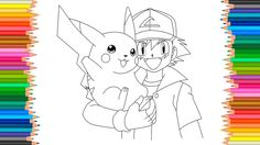 Pokemon Coloring Pages L Pikachu And Ash Ketchum Book Videos For Children Learn Colors Kids