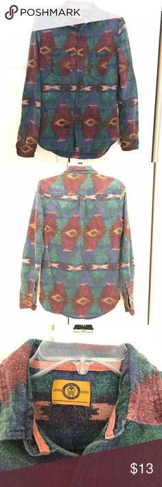 Tribal, vintage-style, button down. Tribal and vintage style button down! Worn maybe once. Love it but too small along the shoulders (it's a men's small). Labeled Urban Outfitters because I can't find the brand and it looks like that style. Urban Outfitters Shirts Casual Button Down Shirts
