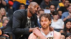 Gasol & Bryant sharing a moment... probably the end of the a solid run that included two rings and three finals appearances #Lakers