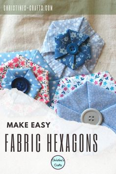 These gorgeous hexagons can be made any size from any fabric. Simply press and either glue or sew in place. Great for adding to clothes and bags or making brooches. Great for applique projects. Full detailed step by step instructions for free. #fabriccrafts #christinescraftsuk #embellishmentDIY #embellishments Thing 1, Hexagon Pattern, English Paper Piecing, Hacks Diy, Needle And Thread, Fabric Scraps, Couture, Diy Fashion, Easy Crafts