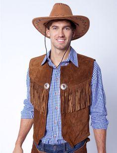 Cowboy Lederweste (dunkelbraun) für Karneval kaufen | Deiters | Kostüm | Karneval | Fasching | Outfit | Mottoparty | Halloween