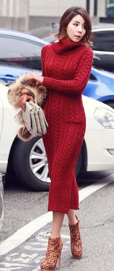 red cable knit sweater dress with animal print booties