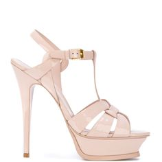 Saint Laurent high heel strappy sandals (1,505 BAM) ❤ liked on Polyvore featuring shoes, sandals, strappy sandals, strappy shoes, strap sandals, nude shoes and white high heel sandals