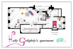 Detailed Floor Plan Drawings of Popular TV and Film Homes: Breakfast at Tiffanys - Imgur