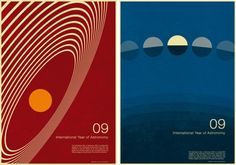 Simon Page's poster design for the International Year of Astronomy. Page says he took inspiration from old illustrations of gravitational forces and planetary motion in science books.