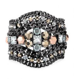 Kahlo Bracelet Mixed Metal Hematite & Rose Gold Statement Bracelet #SD #Statement