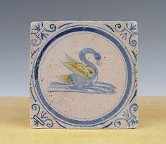 Antique RARE Dutch Delft Tile Swan Circa 1625 Polychrome | eBay