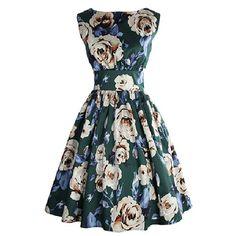$15.21 Retro Style Sleeveless Round Neck Floral Print Women's Dress