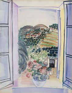 """Raoul Dufy 1877-1953Fenêtre ouverte à Saint-Jeannet c.1926-27Gouache on paper 2513/16""""x20""""Tate"""