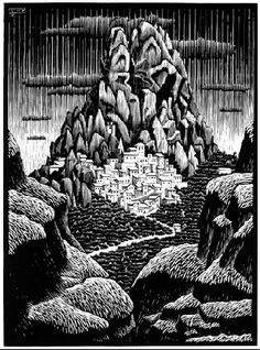 "M. C. Escher- ""Pentadattilo (Panorama), Calabria""- January 1931, Woodcut."