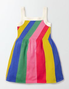 Why chase the rainbow when you could wear it? This fun, flared sundress has bright colourful stripes to cheer up the greyest of days. It's finished off with soft crochet trims and straps. The full skirt gets top marks for twirlability.