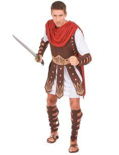 Disfraz gladiador hombre: Este disfraz de gladiador para hombre incluye una túnica con coraza y una capa, protecciones para los brazos y piernas (espada y sandalias no incluidas).La túnica es blanca satinada, la...