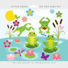Este paquete de imágenes prediseñadas es para: 1. fondo de lago (JPEG, tamaño 11 x 15 pulgadas a 300 dpi) 2. ranas gráfico establecido (ranas, nenúfares, libélulas, mariposas, flores, sol, nubes, etc.) Lo que usted recibe: • . Los archivos PNG en alta resolución (estos tienen