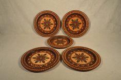 Vintage Wood Plates Hand Painted Floral Design Wooden Set of 5