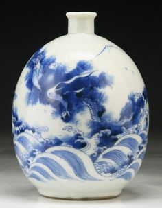 """Chinese Antique Blue & White Porcelain Vase: of Qing Dynasty YONGZHENG Period; Size: H: 6-1/4"""""""