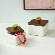 Mid-Century Marble + Wood Boxes #westelm