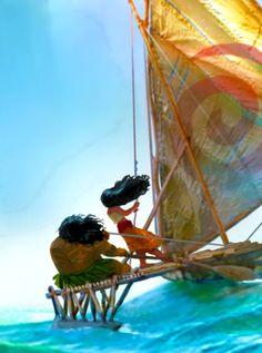 Close-up of Moana and Maui from concept art of Disney's Moana.