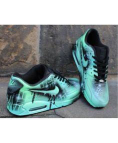 a3577341e374 Custom Nike Air max 90 mint Black Abstract graffiti Drip Sneaker  UNIKAT   Rare