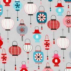 Robert Kaufman Cotton Fabric.Sweet Kokeshi.chinese lanterns . Per Fat Quarter