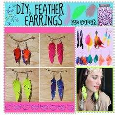 DIY; neon Feather Earrings using duct tape Little Things, Girly Things, Girly Stuff, Duck Tape Bags, Duct Tape Crafts, Cute Diys, Feather Earrings, Pretty Little, Diy Projects