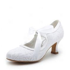 Satin Spool Heel Closed Toe Pumps Wedding Shoes With Ribbon Tie