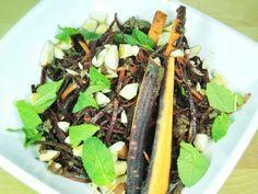 Rindfleischsalat mit lila Karotten