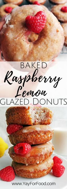 Enjoy fresh, light, and fluffy lemon raspberry donuts covered with a lemon glaze! These baked homemade treats are easy and made from scratch!   Breakfast | Brunch | Snacks | Dessert | Vegetarian | Donuts | Doughnuts
