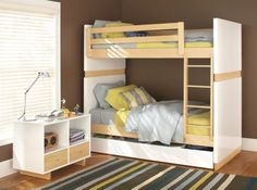 Made by craftsmen in New York, the Moda kids' bunk bed offers simple, functional design with a lacquer finish that keeps each bed looking great from toddler to teen years. Personalize this bed in a variety of wood finish and color options, and enjoy durable construction that keeps your child safe. Our Moda bunk beds meet or exceed all U.S. government safety standards, as well as CPSC requirements and ASTM standards.