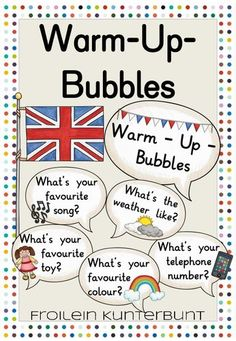 Warm-Up-Bubbles Englisch – Unterrichtsmaterial im Fach Englisch English Teaching Materials, Teaching English, Education English, Elementary Education, Back To School Activities, Teachers' Day, Math Worksheets, English Lessons, Questions