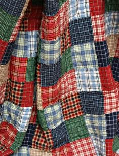 Americana Cambridge Plaid Patchwork Quilt Throw - great inspiration, this would be so soft made out of flannel.