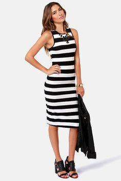 black and white striped dress $36