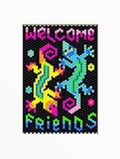 WELCOME FRIENDS~PONY BEAD BANNER PATTERN #Unbranded Peyote Patterns, Loom Patterns, Beading Patterns, Pony Bead Animals, Beaded Animals, Pony Bead Projects, Beading Projects, Diy Jewelry Making Tools, Picture Banner