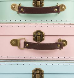 Set of 3 Pastel Retro Suitcases | Brights & Pastels | Sass & Belle