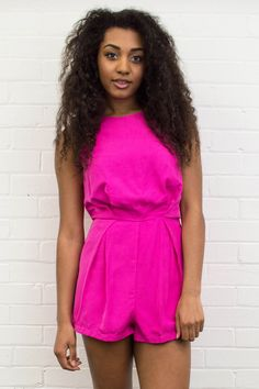** O U T F I T O F T H E D A Y ** Our Amie Hot Pink and Black Lace Panel Playsuit is ideal for summer and will be a favourite in your wardrobe!  Get yours now >> www.girlinmind.com/new/amie