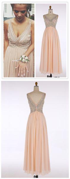V-Neck Prom Dresses,Pink Evening Dress with Beading,Chiffon Prom Dress,Sleeveless Evening Dress,A Line Long Prom Dress,Maxi Dress