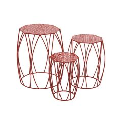 Looking for a set of plant stands that will create a heavenly ambiance? This set comes with three metal stands shaped like drums that can be used either i...