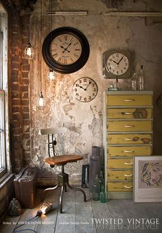 Use industrial objects to add character to a wall space.