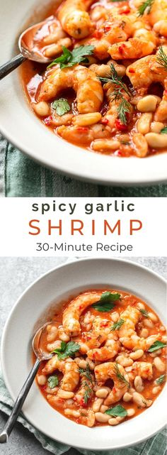 Quick spicy shrimp with cannellini beans Quick, Spicy Garli. Quick spicy shrimp with cannellini beans Quick, Spicy Garlic Shrimp with Rosem Spicy Garlic Shrimp, Spicy Shrimp Recipes, Garlic Recipes, Salmon Recipes, Fish Recipes, Seafood Recipes, Healthy Recipes, Seafood Meals, Gluten Free Recipes For Dinner