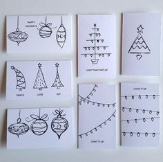 Your friends and family are sure to be impressed with these HAND DRAWN cards! Purchase includes: 7 Cards - printed on Card stock - Choose BROWN OR WHITE - Choose OR 7 White envelopes Ships quick letters card 7 Piece Variety Pack HAND DRAWN Christmas Cards Christmas Cards Drawing, Simple Christmas Cards, Christmas Doodles, Handmade Christmas Tree, Homemade Christmas Cards, Christmas Tree Cards, Holiday Cards, Christmas Diy, Christmas Countdown
