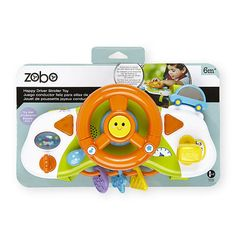 Engage your little one the road with this fun Stroller Toy from Zobo. Featuring a number of different activities, this easy to attach Stroller Toy is designed to keep baby happy at play no matter where you're going. Whether it's a quick trip to run some errands or a longer day trip to a local park or zoo, this Stroller Toy is good for hours of entertainment. Help them shift into gear for a fun playtime. You can even attach it to their car seat tray (sold separately) for fun driving wi...