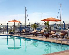 The view from the pool at The Waterfront Hotel in Oakland - A Joie de Vivre Hotel