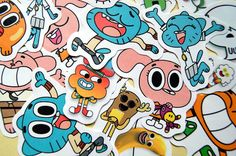 Set of 18 The Amazing World of Gumball stickers. They measure around 40-50 mm, varying on the character depicted (the supporting character ones are smaller than the family ones ;)).  These stickers are printed on high-quality adhesive paper with prime quality ink, later coated with a protective...