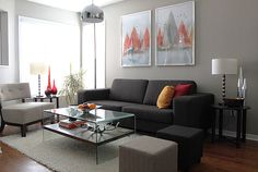 Grandiose Stainless Steel Pendant Lights Over Square Glass Coffee Table Also Dark Fabric Modern Couch As Decorate Grey Themes Ideas For Living Room Tips