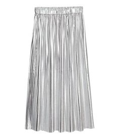 Silver-colored. Calf-length, pleated skirt in textured-weave fabric with an elasticized waistband. Unlined.