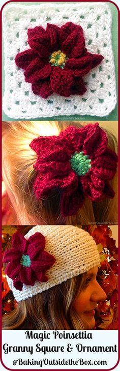 #bakingoutsidethebox | Crocheted Poinsettia ornament/ granny square. So fun to make. Free pattern.