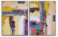 Set Of 2 Large Contemporary Painting Abstract par CelineZiangArt