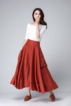 Orange skirt Linen skirt women skirt long linen skirt high waisted skirt pocket skirt flared skirt Handmade skirt summer skirt by xiaolizi Long Skirt Outfits, Modest Outfits, Summer Outfits, Tall Girl Fashion, Handmade Skirts, Orange Skirt, Long Skirts For Women, Linen Skirt, Cute Skirts